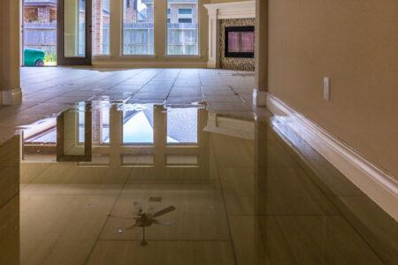 interior de casa lleno de agua con seguro contra inundacion